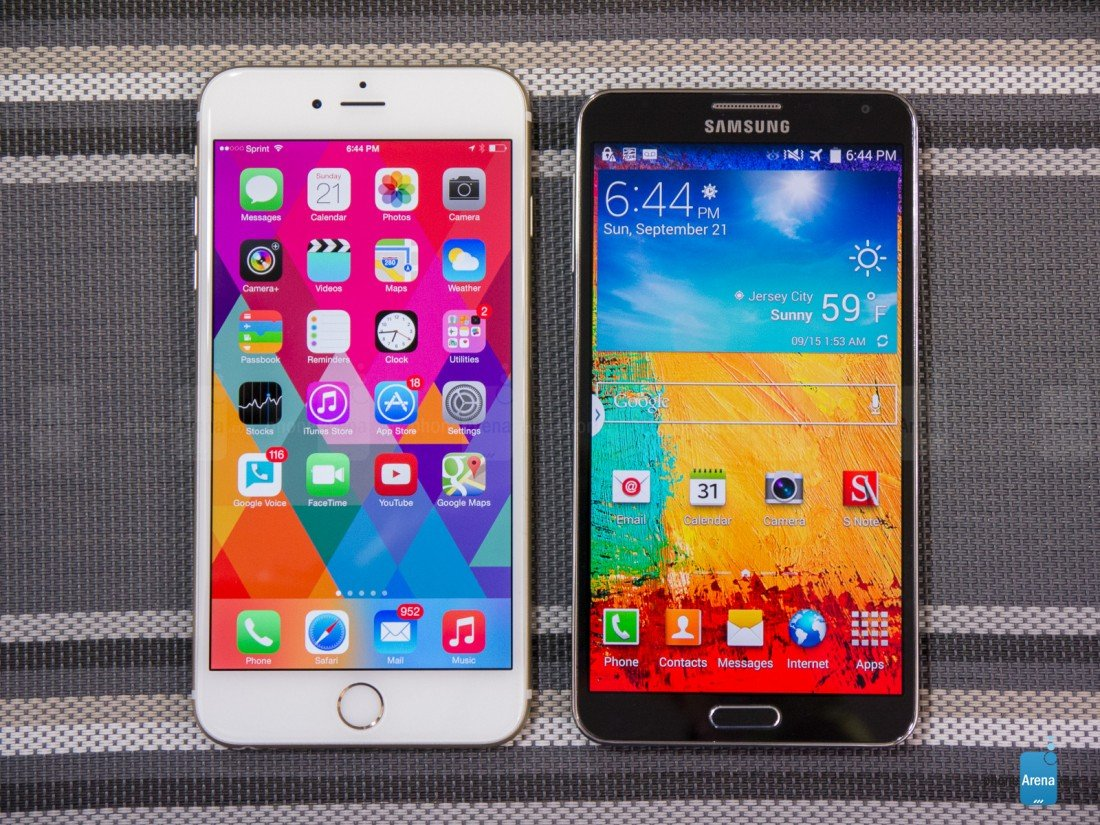 Galaxy Note 4 với iPhone 6 Plus