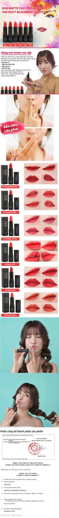 Son Matte The Rucy Blooming Lipstick Apple Red (Ảnh 1)